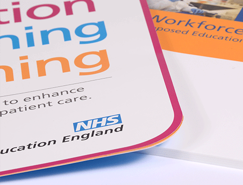 We work with Health Education England to produce general print materials, office signage & promotional items. We also provide event materials & displays including install & destall.